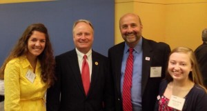 Congressman Dave Joyce with Neal Denton, Senior Vice President, Chief Government Affairs Offices at the YMCA, and interns.